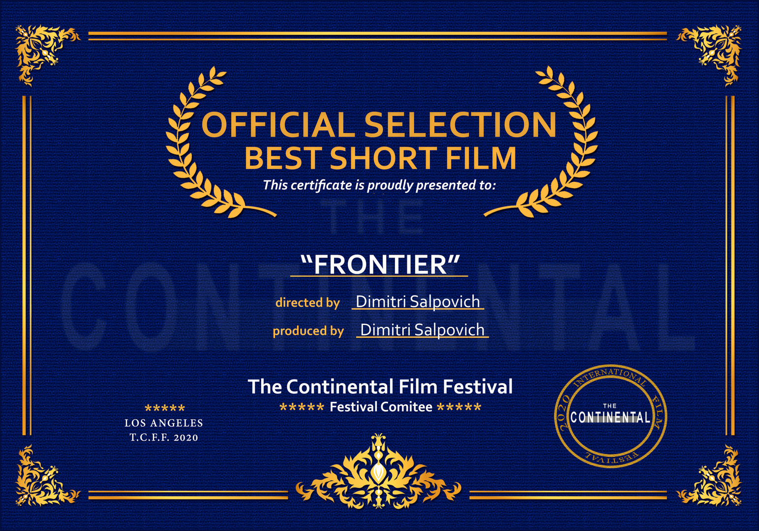 Official Selection Certificate