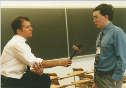 The News interviewing a Delegate