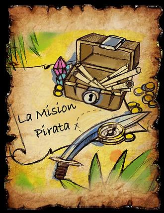 Portada escape room imprimible y en caja para niños Misión pirata