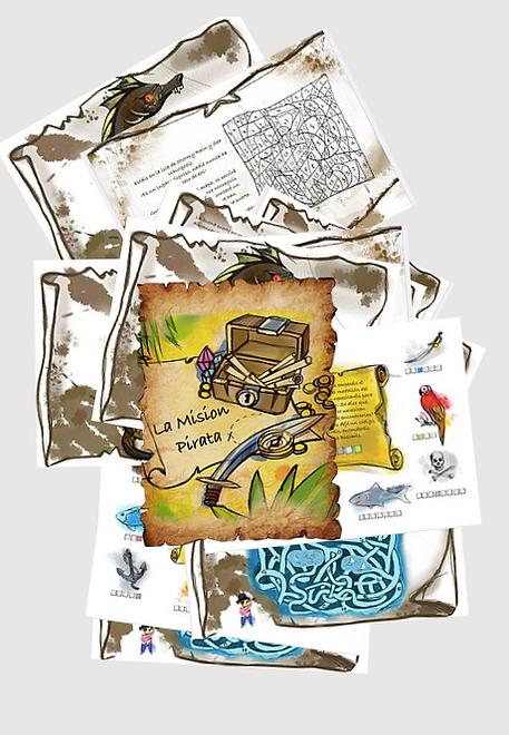 Diseño de las misiones del escape room imprimible para niños Misión Pirata