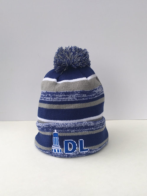 New Era Side Line Pom Pom Beanie Bit Design Royal and Grey