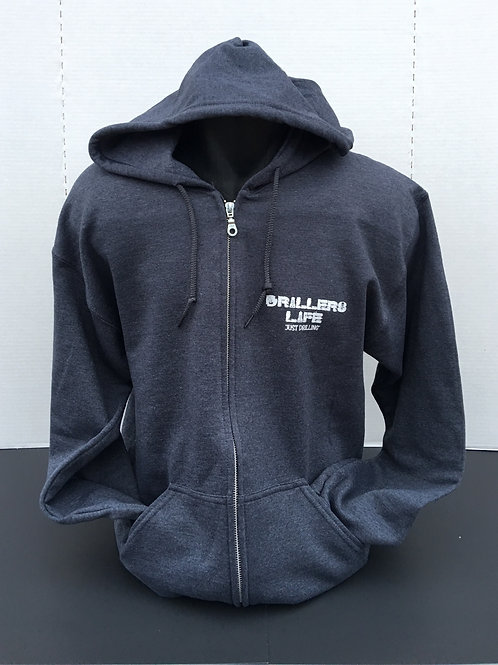 Drillers Life Gray Logo Zippered Jacket