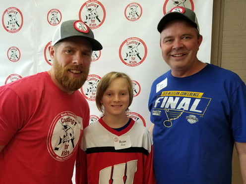 NHL Hockey Star Joe Pavelski, Future Pro Ryan Flynn and Ryan's dad Joe Flynn had a terrific time at this years Mark Osiecki Casting for Kids Muskie Tournament! 6/01/2019