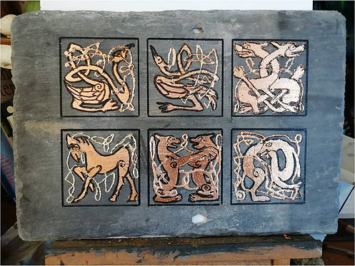 Copper panel of six designs by Fiona Melford
