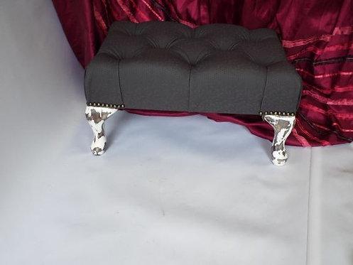White and Steel Vinyl Footstool