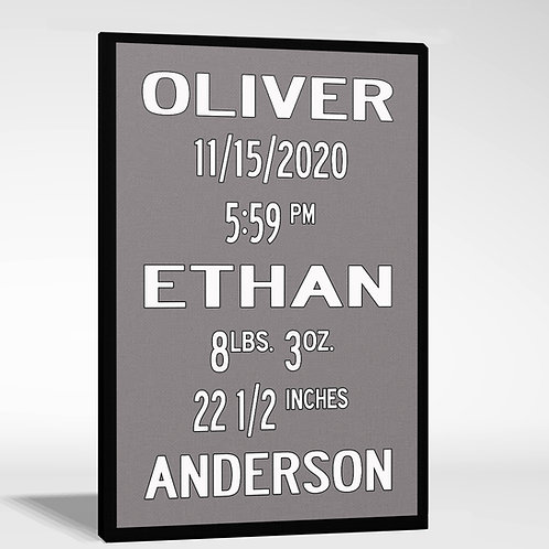 Birth Announcement Wall Art with contrast border
