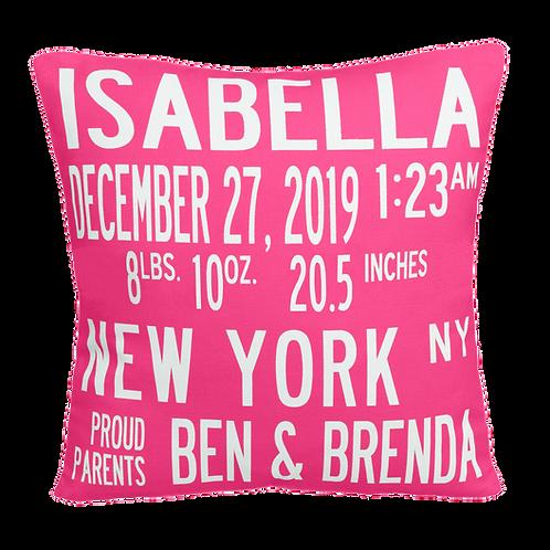 Original Classic Birth Announcement Pillow