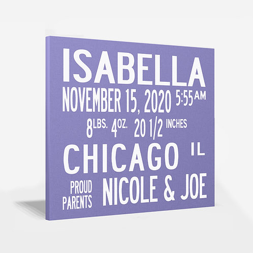 Classic Square Birth Announcement Wall Art
