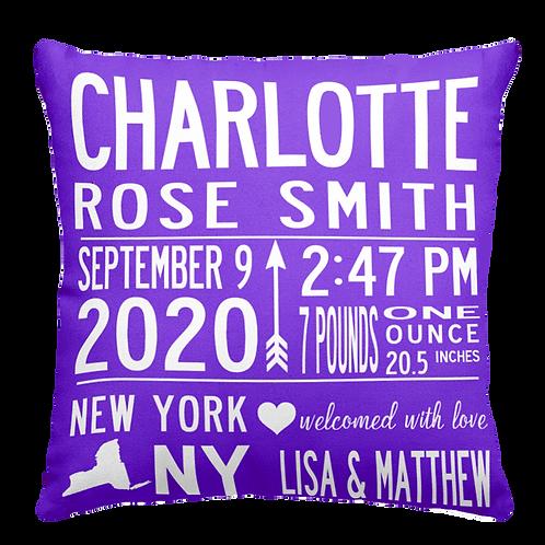 Icon Birth Announcement Pillow