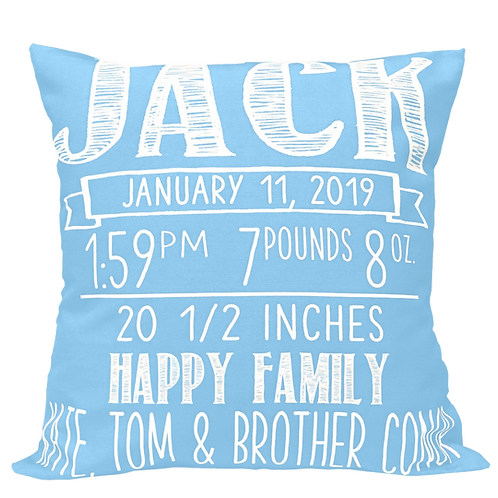 Chalkboard Design Birth Announcement Pillow