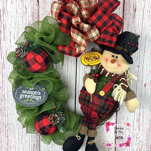 Buffalo Plaid Snowman Wreath