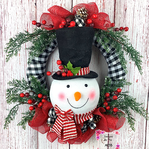 Snowman Top Hat Wreath