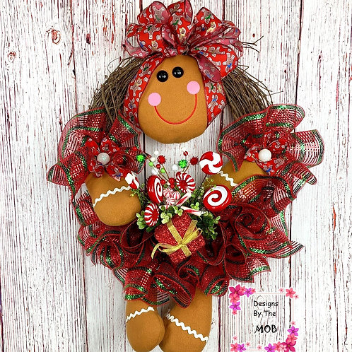 Red Gingerbread Girl Wreath