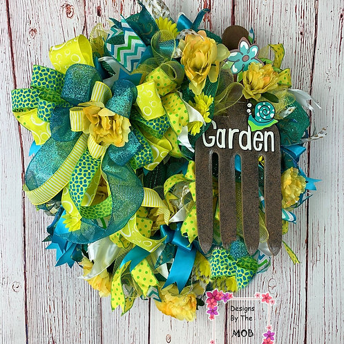 Yellow and Blue Garden Wreath