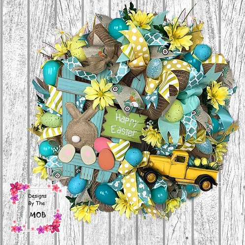 Yellow Easter Truck Wreath