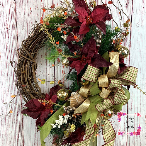Poinsettia Grapevine Wreath