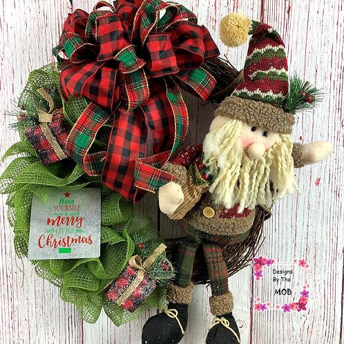 Grapevine Santa Wreath