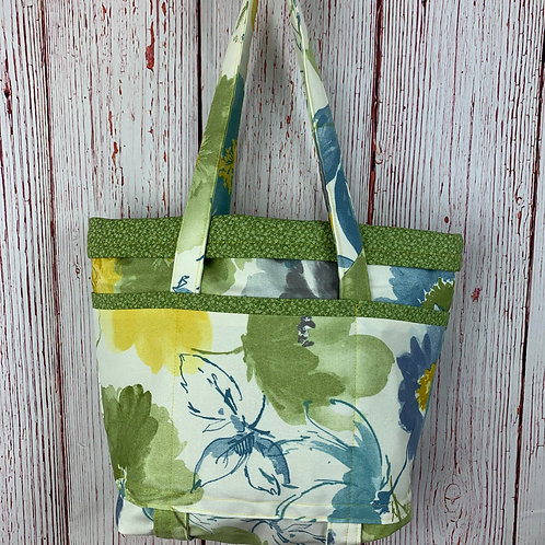 Green Floral 8-Pocket Tote