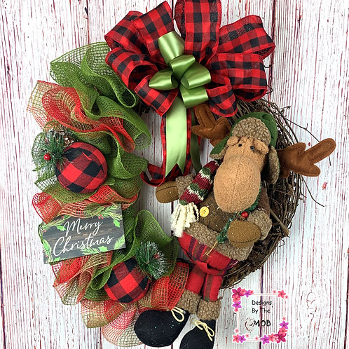 Moose Grapevine Wreath