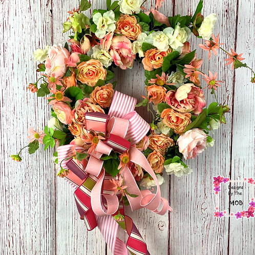 Pink and Orange Floral Wreath