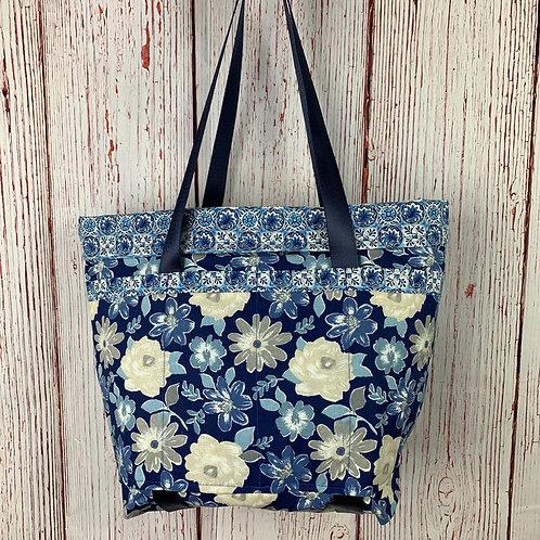 Blue Floral 14-Pocket Tote