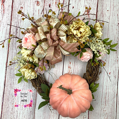 Pink Pumpkin Wreath