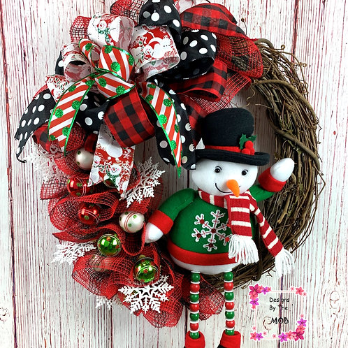 Grapevine Snowman Wreath