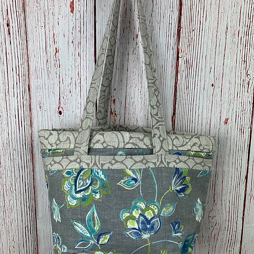 Gray and Blue 12-Pocket Floral Tote