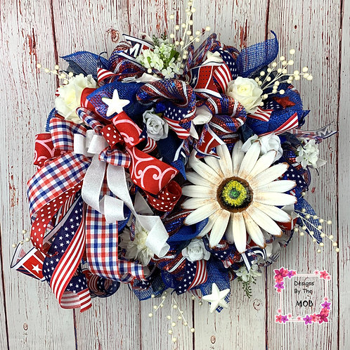 Patriotic Daisy Wreath