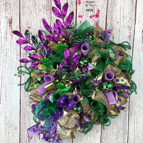 Mardi Gras Faces Wreath