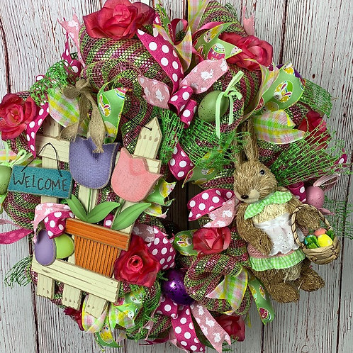 Bunny with Basket Wreath