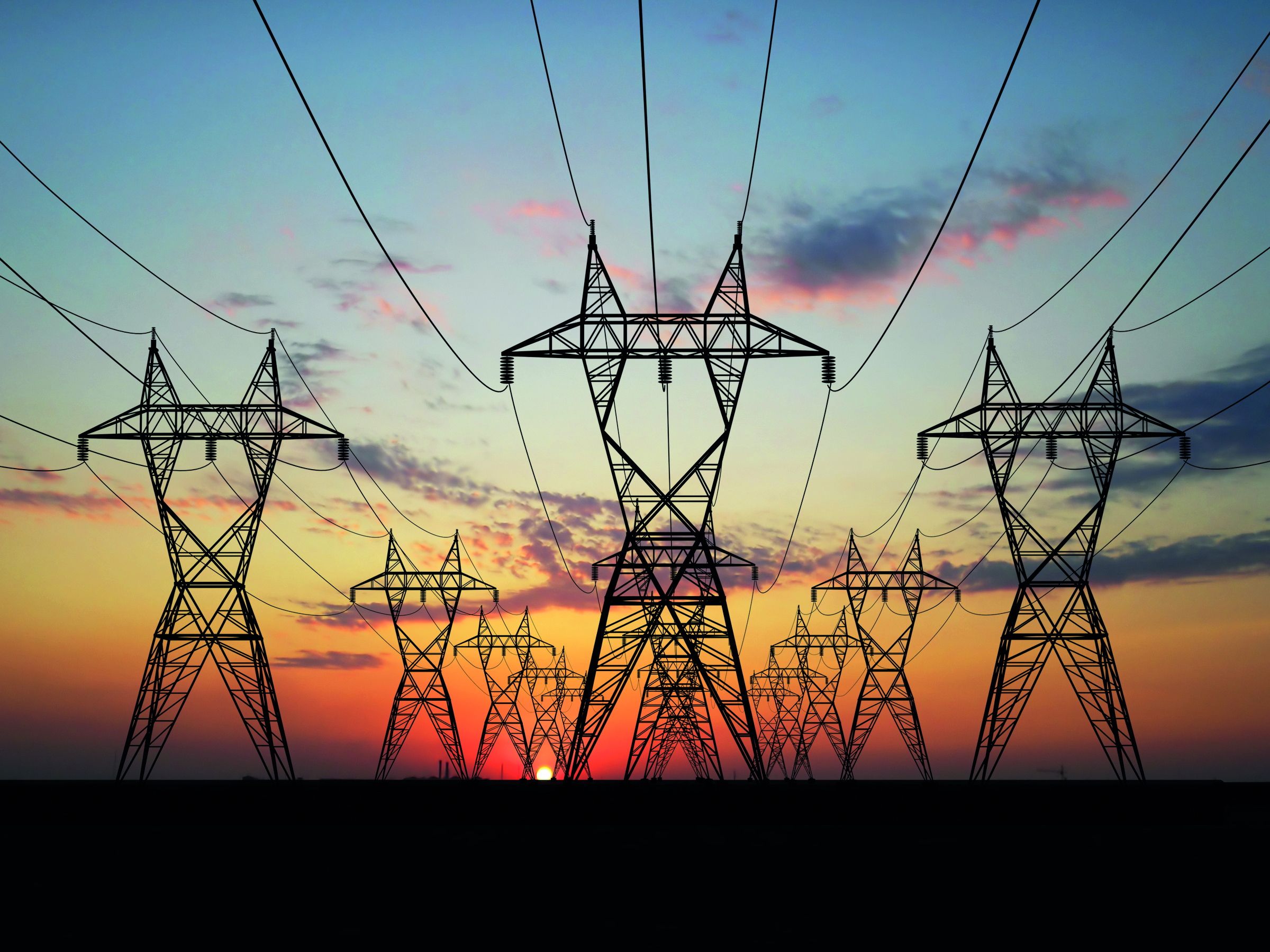 General - Electric Powerlines At Sunrise