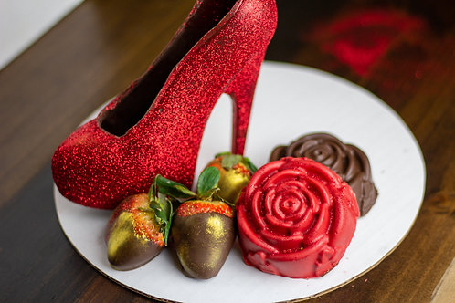 Chocolate Shoe with Two Chocolate Covered Marshmallow Red Velvet Roses