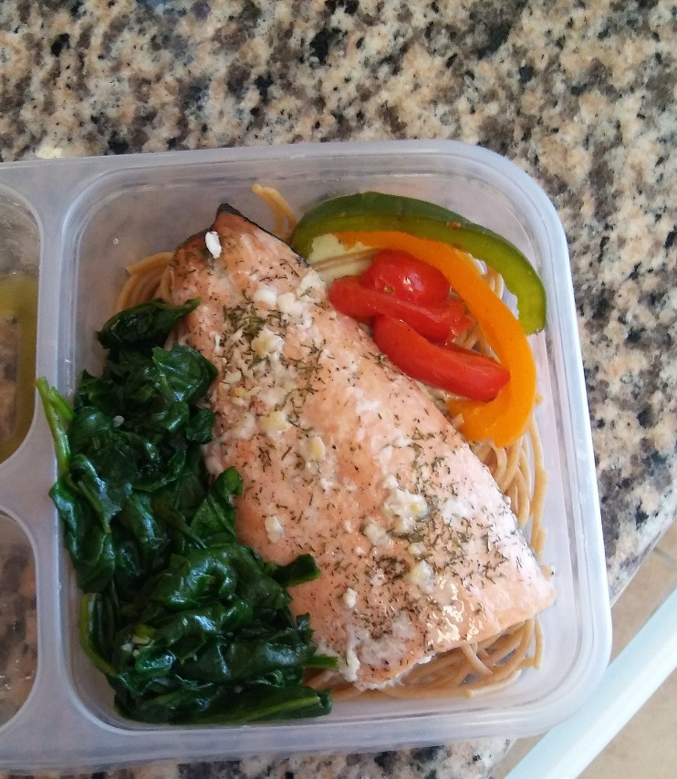 Lime Salmon served with noodles and a Parmesan cheese sauce, roasted pepper and sauteed spinach. Sodium 449 mg