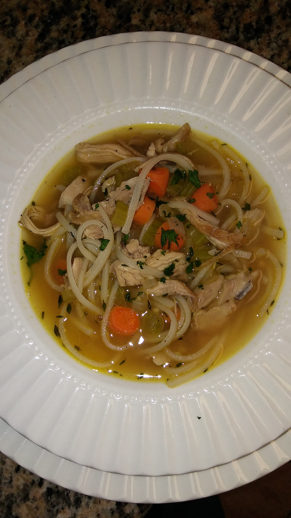 chicken noodle soup with low sodium broth, Thai rice noodles, chicken and vegetables
