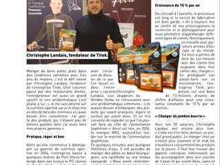 PRESSE | TITOK, ENTREPRISE DE NUTRITION POUR LES SPORTIFS