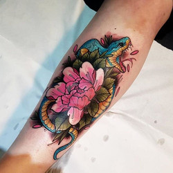 _scottwutattoo Snake and peony from toda