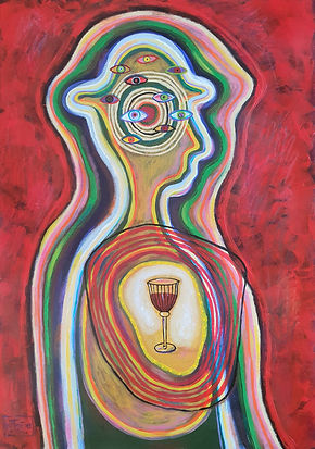 Wine is in My Heart. a/c, 70x50 cm.