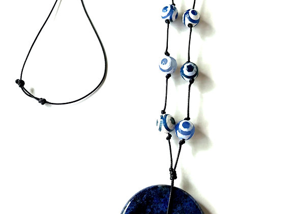 Blue Sodalite Donut and Leather Pendent