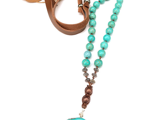 Turquoise Colored Magnasite and Leather Necklace