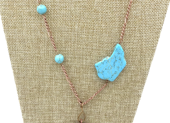 Turquoise Colored Bead Necklace with Copper Cactus Pendent