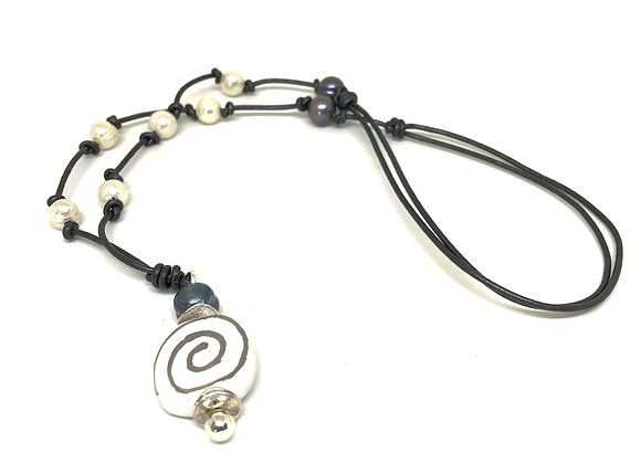 African Bead and Freshwater Pearl Necklace