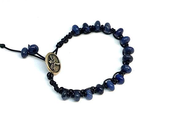 Boho Style Sodalite and Leather Beaded Bracelet