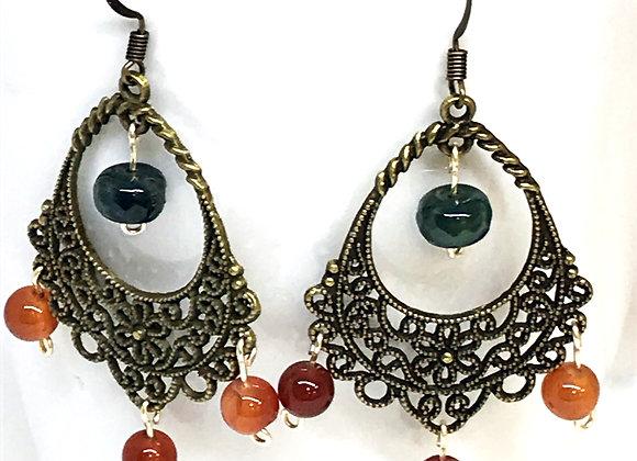 Rainforest and Cornelian Agate Drop Earrings
