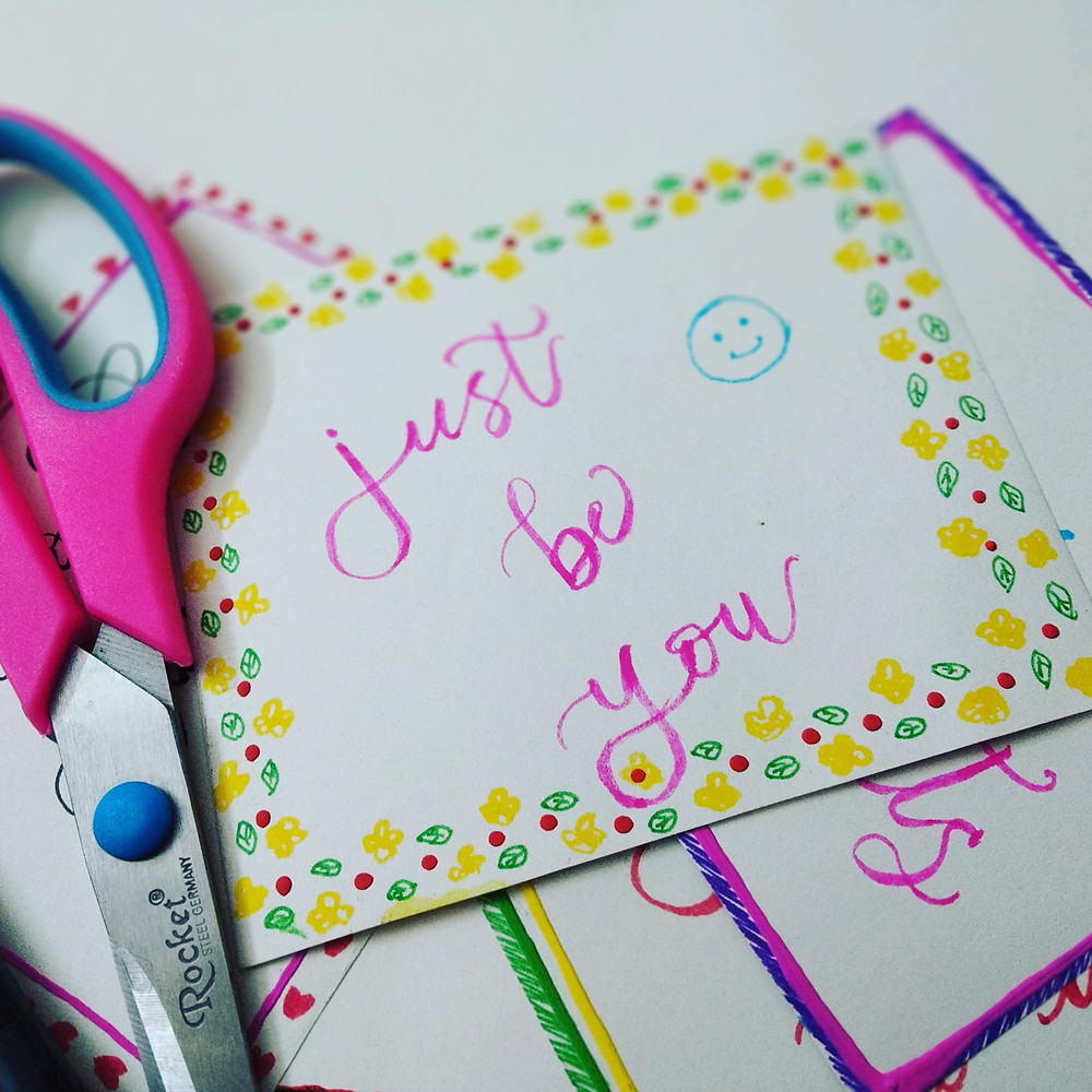 "Stationary that says ""Just be You"", struggle to have honest feelings"