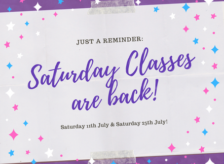 Saturday Classes with Miss Kelly are back!