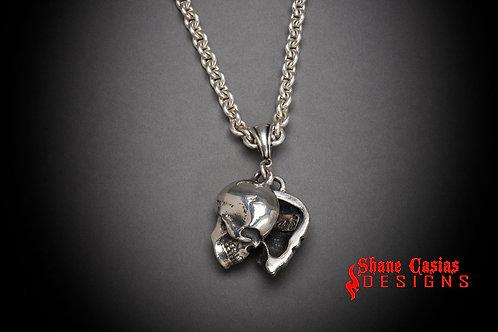 Sterling Silver Split Skull pendant