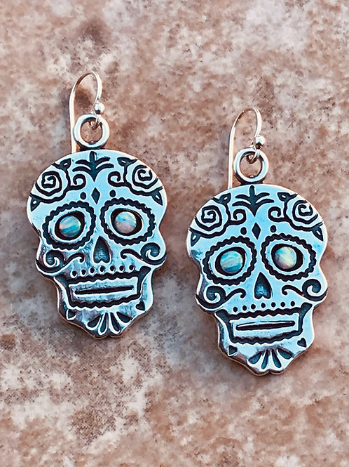 Skull and Roses Day of the Dead Earrings