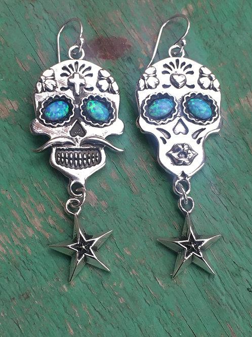 """Dia de Los Muertos """"Besos""""with Stars dangle"""
