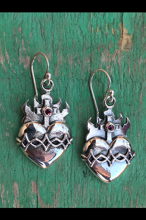 Sacred heart earrings with Red garnets